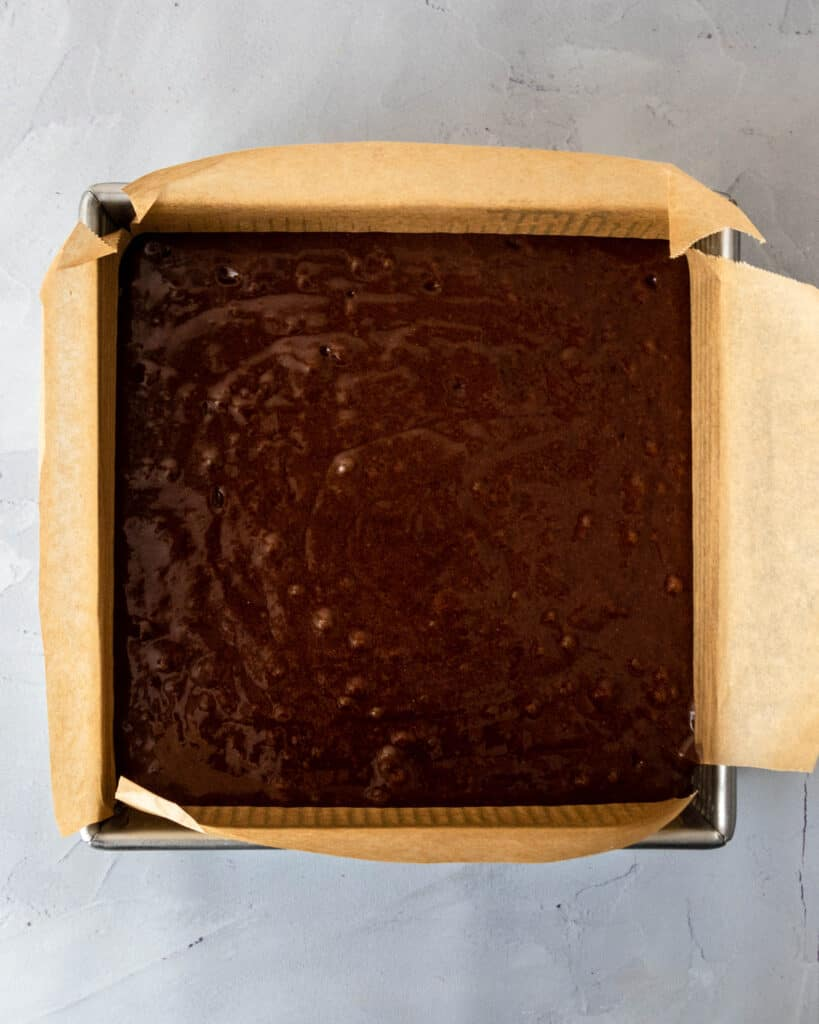 Gluten Free Chocolate Cake batter in pan