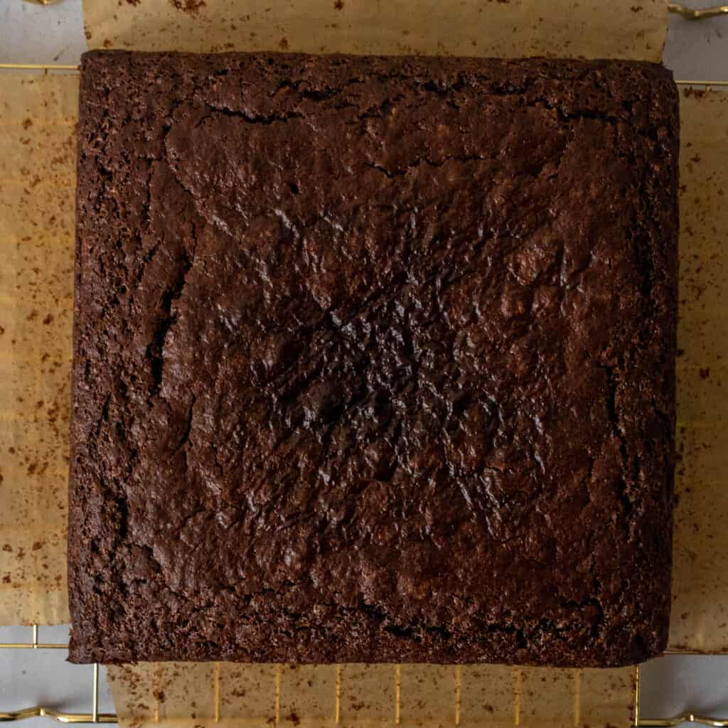 baked gluten free chocolate cake in square pan