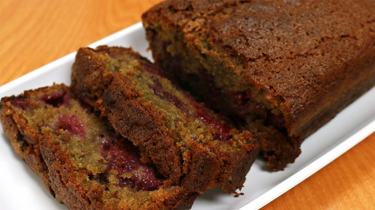 This is a Raspberry Loaf Cake, which is gluten free, dairy free, and corn free. This cake is similar to Raspberry bread, except it's a loaf cake.