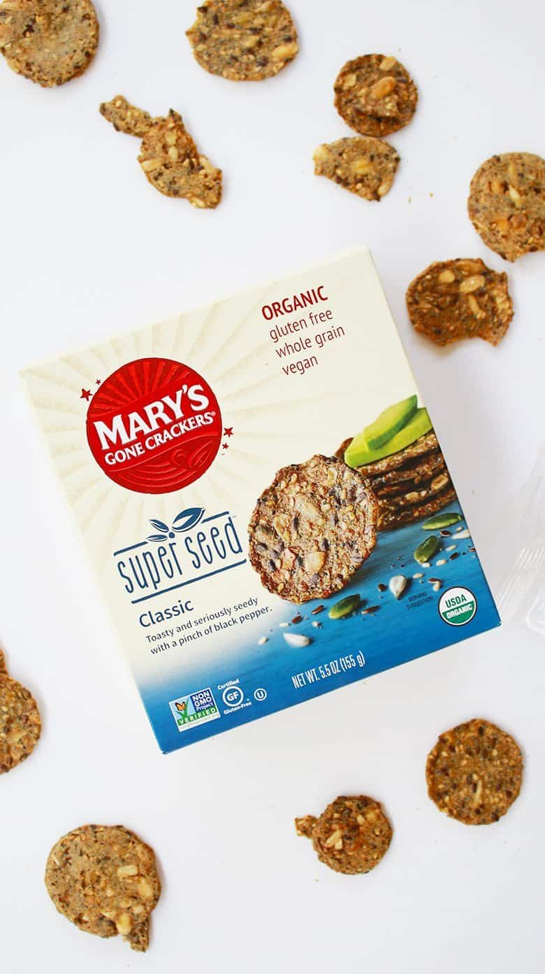 7. Mary's Gone Crackers: Super Seed Classic Crackers When I first tried these crackers a few years ago, I was not a big fan. Then, I tried them again a few months ago, and I LOVED them! These crackers are packed with tons of healthy seeds and flavors. Plus, they are awesome served with hummus or any other dip.