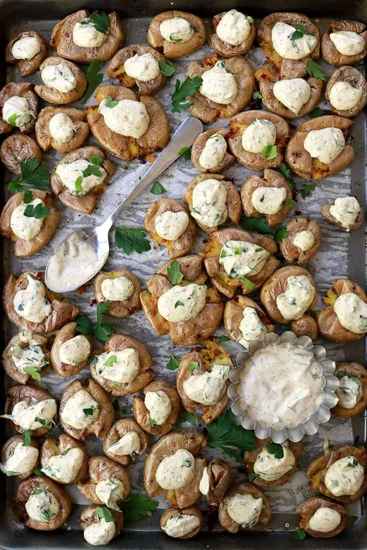Smashed Potatoes with Vegan Ranch Dip , Smashed Potatoes, Vegan Ranch Dip, smashed potato, vegan dip, ranch dip, vegan herb dip, crispy smashed potatoes, potato, potatoes, dip, vegan recipes, vegan cooking, vegan side dish, gluten free, dairy free, healthy, cooking, delicious