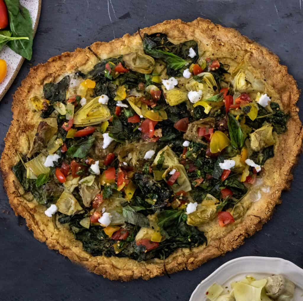 Creamy Spinach & Artichoke Pizza
