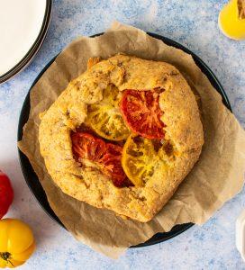 Summer Eggplant Tomato Onion Pie