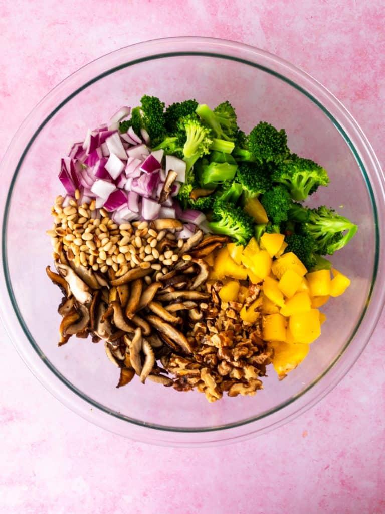 Broccoli Crunch Salad assembly