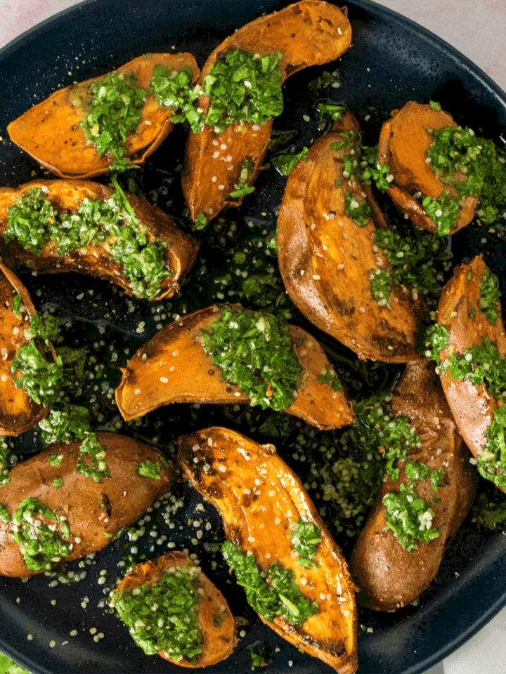 Chimichurri Sweet Potatoes with Hemp Hearts