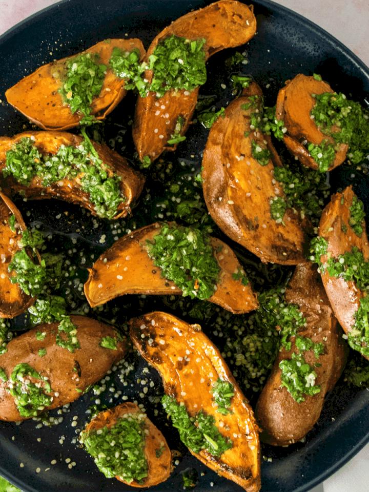 Chimichurri Sweet Potatoes with Hemp Hearts