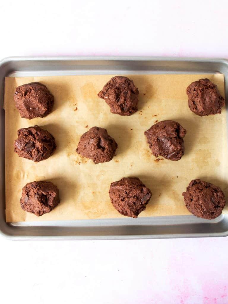 Chocolate Fudge Cookies balls on tray