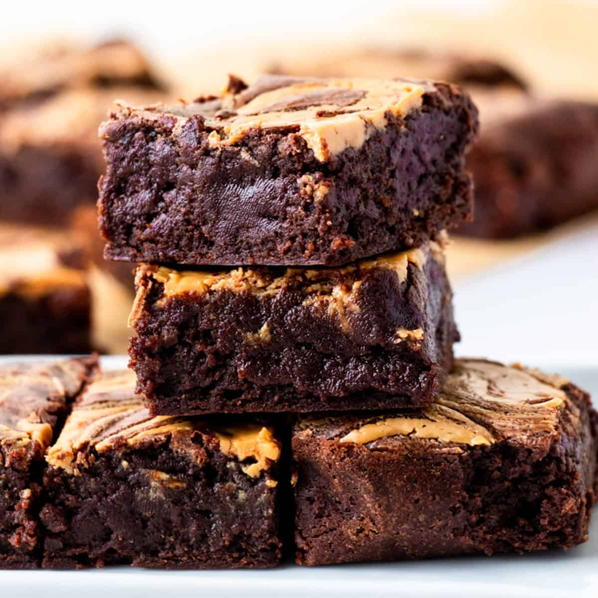 Gluten Free Peanut Butter Brownies stacked