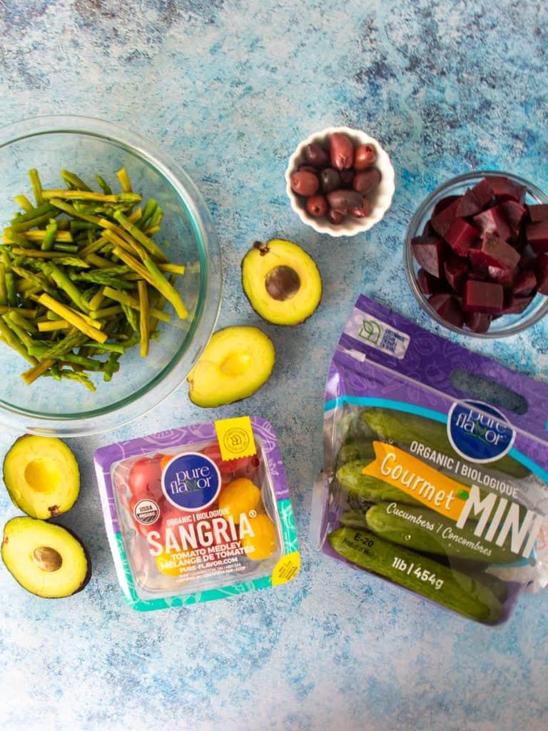 ingredients for Gluten Free Greek-Style Panzanella Salad