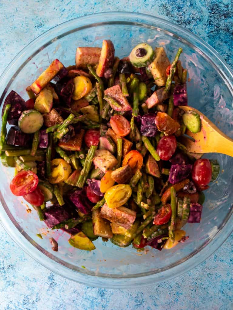 Gluten Free Greek-Style Panzanella Salad in the bowl