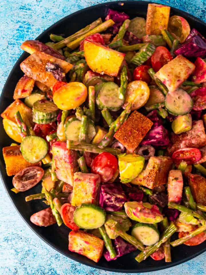 Gluten Free Greek-Style Panzanella Salad