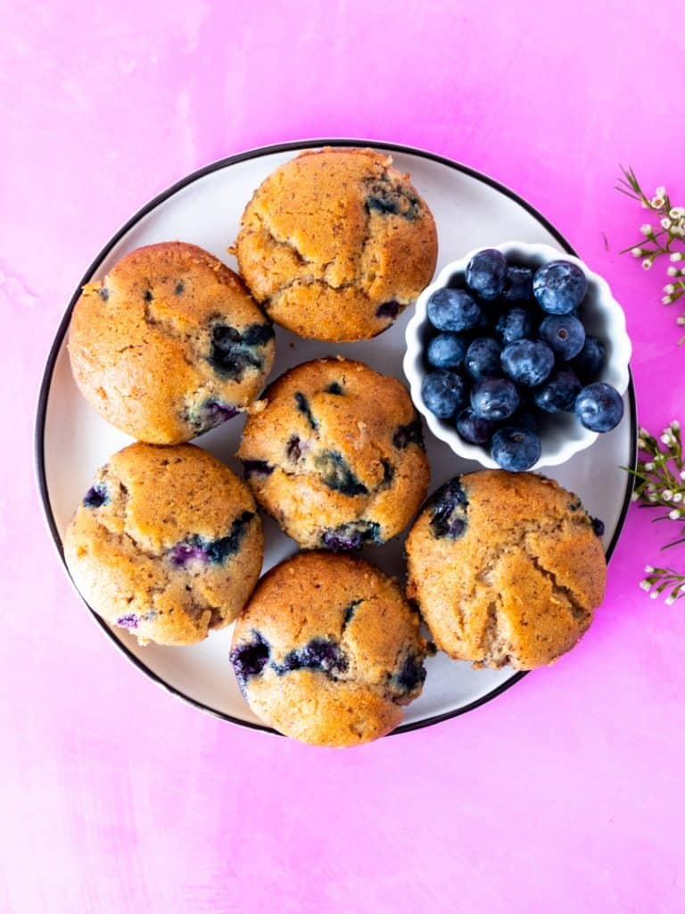 to die for blueberry muffins on plate