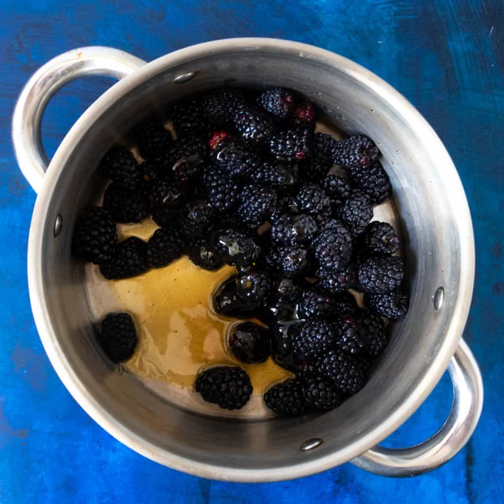 blackberry compote ingredients in pot