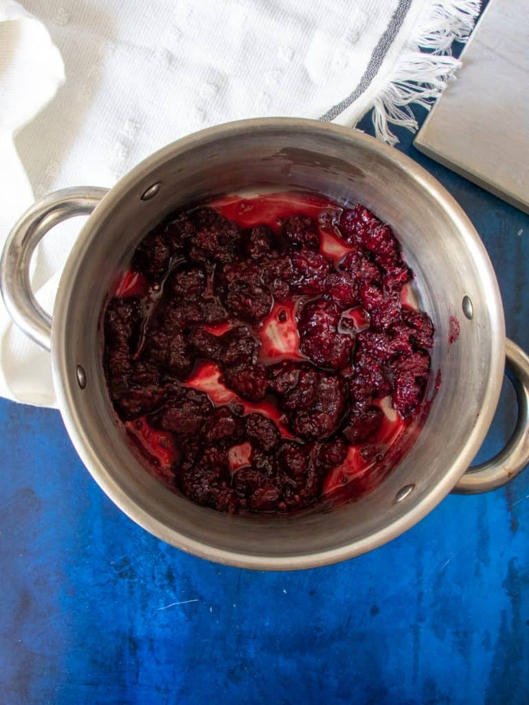 blackberry compote cooked in the pot