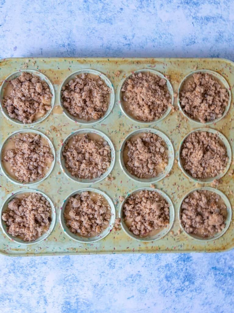 gluten free apple muffin batter prepared in pan