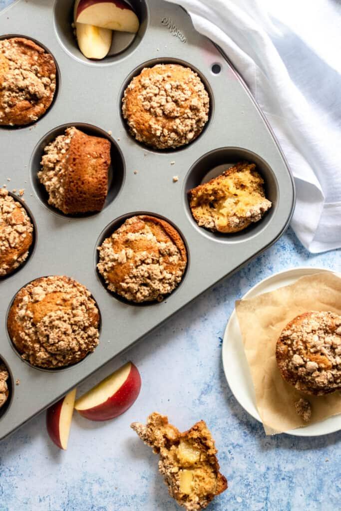 gluten free apple muffins in muffin pan