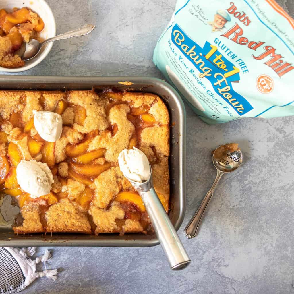 gluten free peach cobbler with bobs red mill packaging