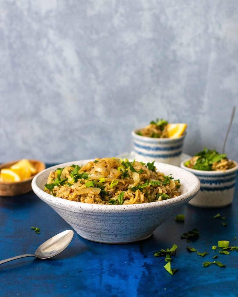 gluten free mujadara in a bowl