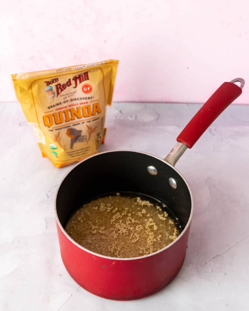 quinoa with water in a pot