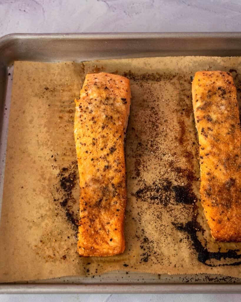 baked salmon fillets in half sheet pan