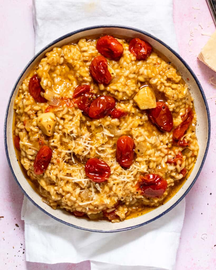 Tomato & Garlic Confit Risotto in a bowl gluten free