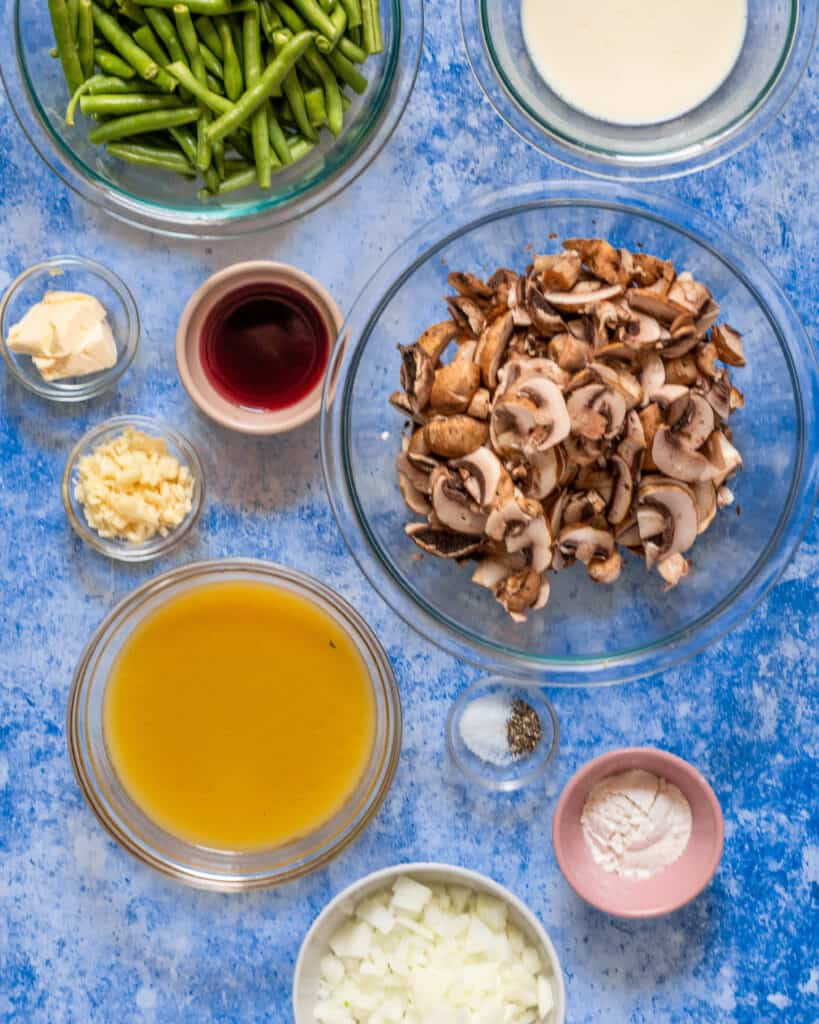 ingredients to make a gluten free green bean casserole