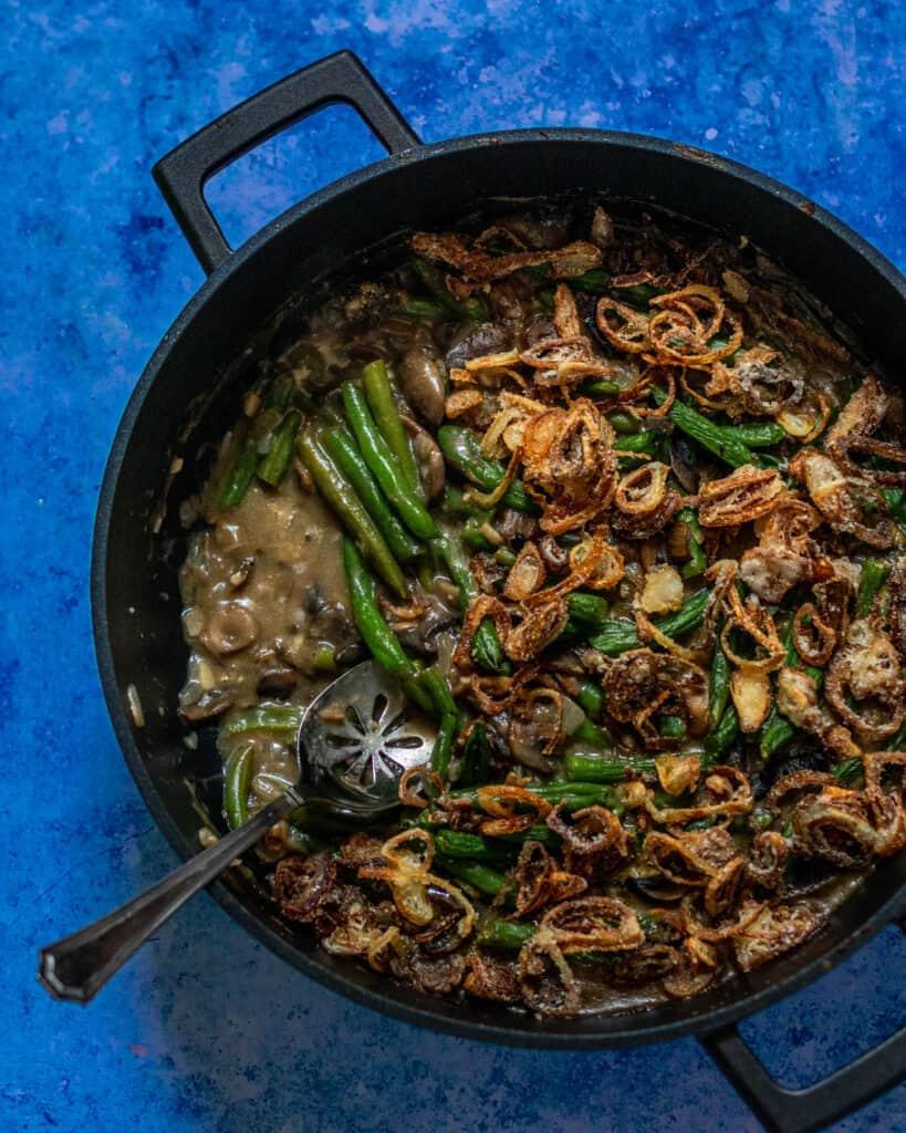 spoon in gluten free green bean casserole