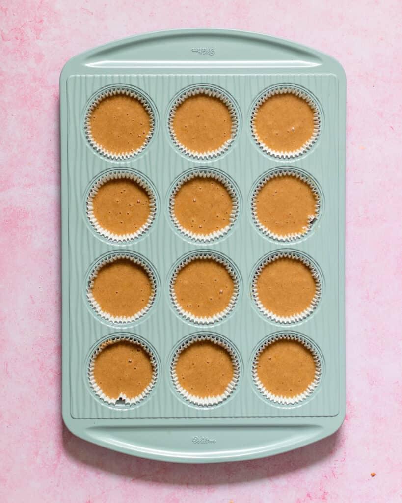 honey cupcake batter in pan