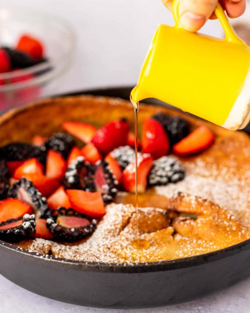 Gluten Free Dutch Baby with maple syrup